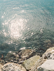 Elevated view of sunlight reflected in sea