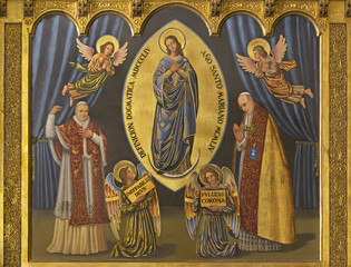 Wall Mural - ZARAGOZA, SPAIN - MARCH 1, 2018:  The painting of Immaculate conception and pope Pius X and Pius XII in church Iglesia del Perpetuo Socorro by pater Jesus Faus (1953 - 1959).
