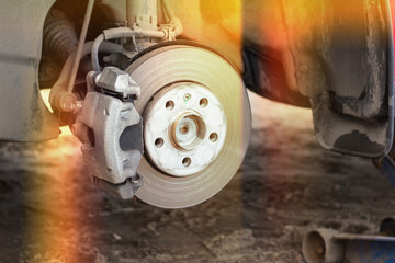 Brake disc and wheel hub parts with light, concept of brake problems