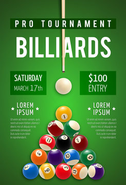 Billiard poster for snooker and pool sport game
