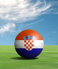 Soccer ball with Croatia flags in a green field