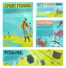 Sport fishing banner with fisherman and fish catch