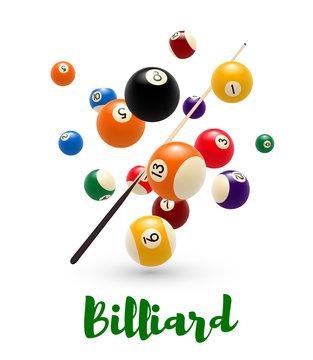 Billiard pool ball, cue poster for snooker design