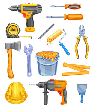 Repair tool and equipment watercolor icon design