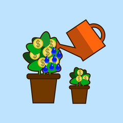 Money tree watering care vector isolated illustration. Flat design EPS