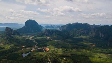 aerial view landscape of  Mountain in Krabi Thailand