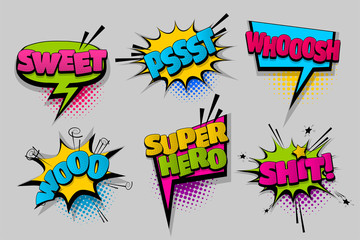 sweet woo shit super hero pop set hand drawn pictures effects template comics speech bubble halftone dot background pop art style. Comic dialog cloud. Idea conversation sketch explosion.