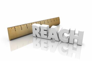 Reach Ruler Measurement Far Distance Word 3d Illustration