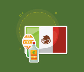 Mexican flag with tequila bottle and maracas over green background, colorful design. vector illustration