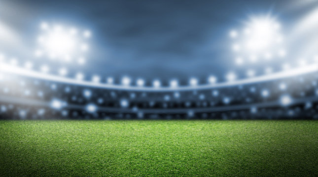Soccer field and spotlight background in the stadium
