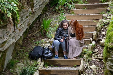 two girls on the stairs