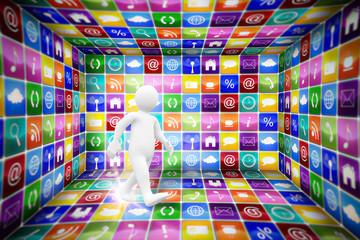 White character walking against app room