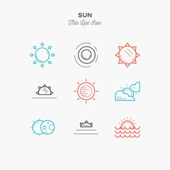 sun, sunrise, sunset, solar eclipse and more, thin line color icons set, vector illustration