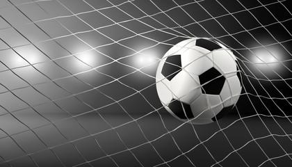 Fußball Ball im Netz. Tornet Fußball Tor 3D Illustration