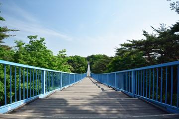 八幡山公園のアドベンチャーブリッジ