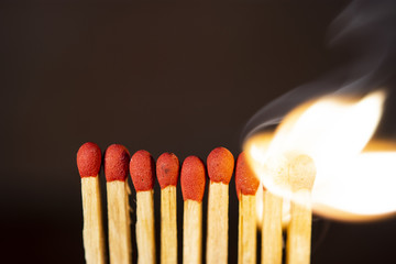 Background matchstick Macro fire burning