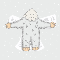 cute, white Bigfoot makes an angel on snow. children s illustration, character, For T-shirts, postcards.
