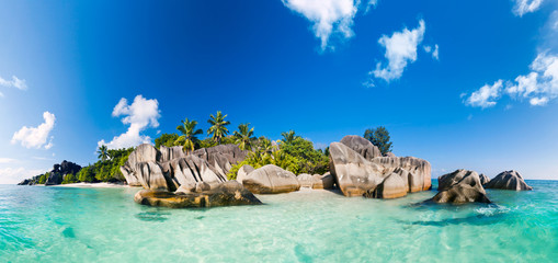 Panorama of Anse Source d'Argent - Beach on island La Digue in Seychelles