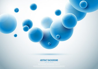 Abstract background in science concept with blue molecule.Vector illustration.