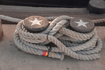 Nautical knot, ship tied to dock