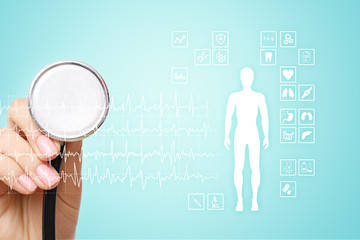 Medical record diagram on virtual screen concept. Health monitoring application.