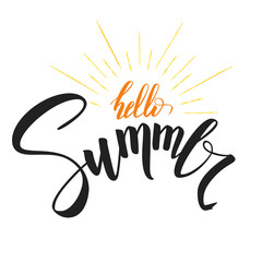 Hello Summer, handwritten text with symbol of sun rays. Hand drawn calligraphy and brush pen lettering. Template of logo for invitation of summer holidays, beach parties, travel agency events.