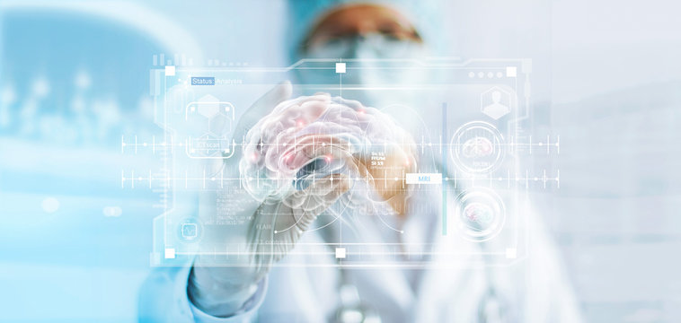 Doctor checking brain testing result, analysis with modern virtual interface in laboratory, innovative technology in science and medicine concept