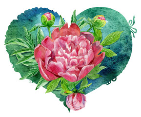 watercolor green heart with pink peonies