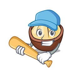 Playing baseball macadamia character cartoon style