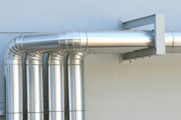 Aluminum ventilation air Pipes in building.