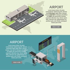 Isometric low poly airport terminal. International arrival departures vector illustration airplane banners.