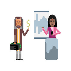 Indian woman on tribune doing business presentation and arabic investor holding money suitcase. Corporate multicultural business people vector illustration.