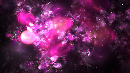 Abstract chaotic pink sparkling bubbles. Digital fractal art. 3D rendering.