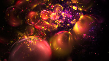 Abstract chaotic orange, red and violet sparkling bubbles. Digital fractal art. 3D rendering.