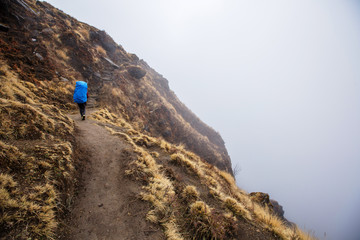 Young traveller woman wearing backpack covered raincoat walking in fog mountain above clouds and precipice