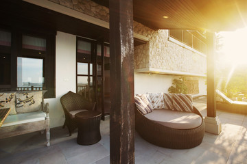 Tropical luxury villa interior outdoor,  sea view veranda