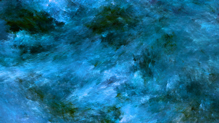 Abstract painted texture. Chaotic blue and green strokes. Fractal background. Fantasy digital art. 3D rendering.