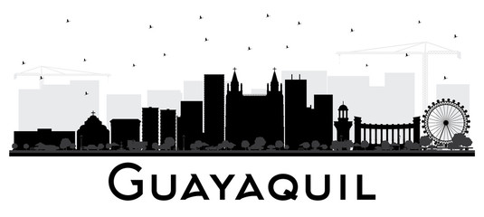Guayaquil Ecuador City Skyline with Black Buildings Isolated on White.