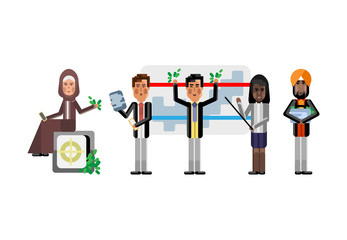 Multiethnic business team doing presentation before arabic businesswoman sitting on bank safe and indian investor. Corporate multicultural business people isolated vector illustration.
