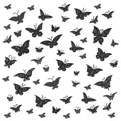 Butterfly patterned black on a white background. Silhouettes of insects isolated.