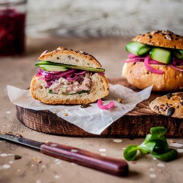 Tuna and Salad Bread Rolls