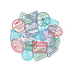 Visa rubber stamps on passport round composition. Barcelona, France, Moscow, Hong Kong, Canada, Dublin, Istanbul, Rome, Ukraine, London immigration signs, airport travel symbols vector illustration.