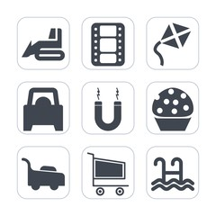 Premium fill icons set on white background . Such as retail, garden, market, grass, toy, trolley, cake, vehicle, heavy, kite, lawn, sweet, dessert, automobile, movie, magnet, summer, construction, sky
