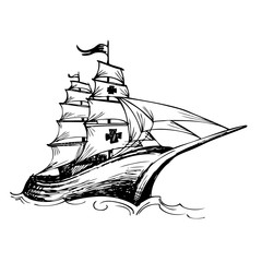 Columbus ship hand drawn