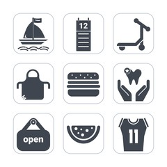 Premium fill icons set on white background . Such as surfing, transport, uniform, reminder, speed, business, graphic, board, dentist, food, health, pinafore, protective, burger, cook, watermelon, shop