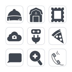 Premium fill icons set on white background . Such as border, web, talk, decoration, clothing, picture, old, photo, natural, food, pizza, art, energy, frame, vintage, glass, power, plug, communication