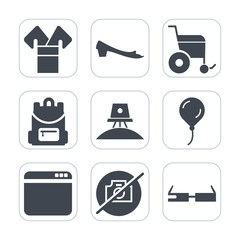 Premium fill icons set on white background . Such as education, disability, modern, web, people, browser, backpack, spaceship, astronaut, internet, celebration, science, website, camera, galaxy, photo