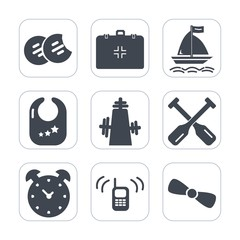 Premium fill icons set on white background . Such as oar, snack, clock, phone, communication, board, gift, hour, kitchen, brown, tasty, time, canoe, aid, chocolate, child, sweet, rattle, health, watch