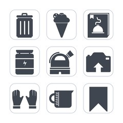 Premium fill icons set on white background . Such as cream, menu, picture, button, bin, sport, healthy, food, fitness, glass, photo, sign, cone, recycling, muscle, trash, dessert, nutrition, summer
