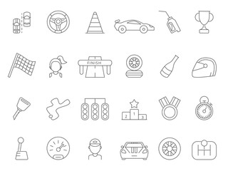 Linear icon set of formula 1 cars
